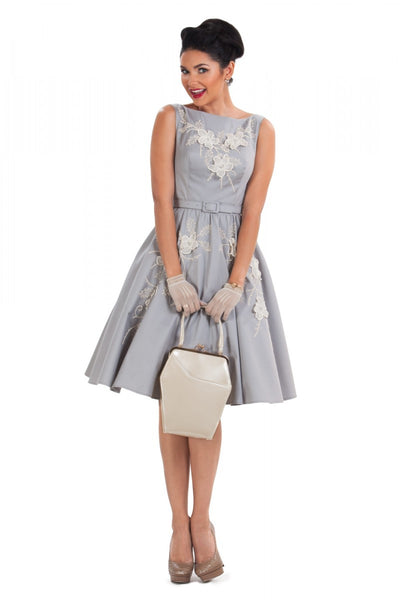 Tea Party Embroidered Gray Swing Dress