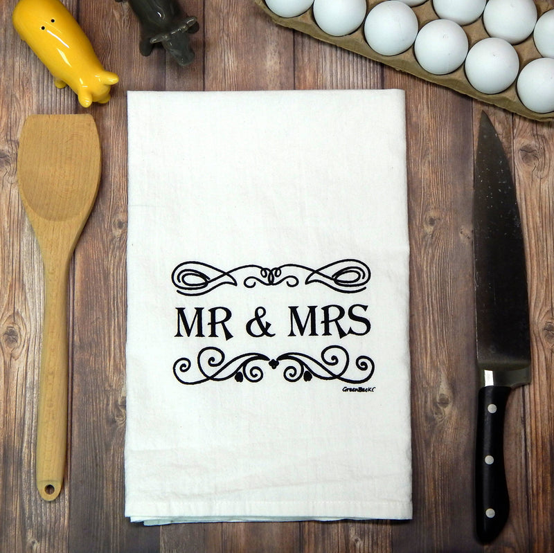 Green Bee Tea Towels - Mr & Mrs Wedding Tea Towel