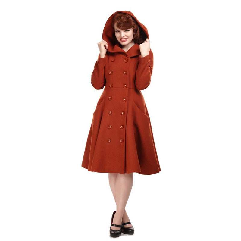Swinging Peacoat with pockets and hood-Rust Orange