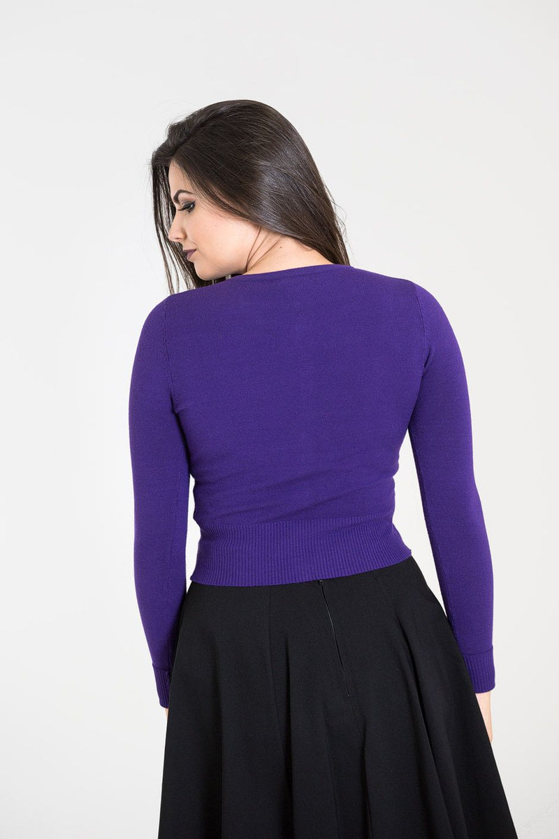 Classic 50's Cardigan in Purple