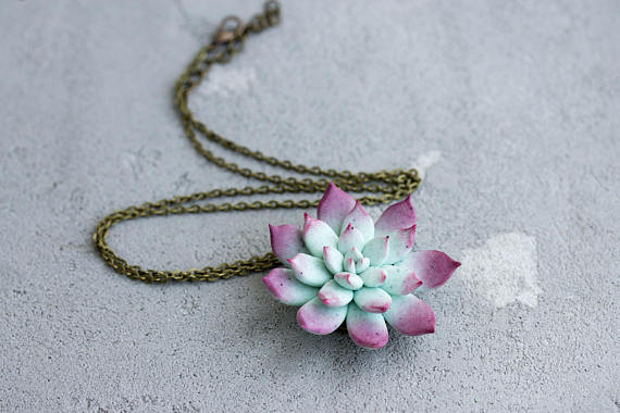 Succulent Necklace on antiqued chain