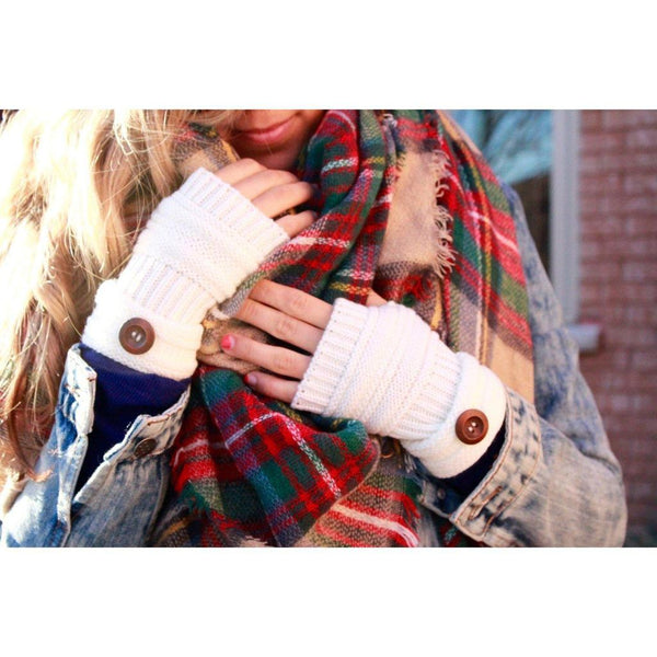 Cozy Knit fingerless gloves with button detail (Ivory)
