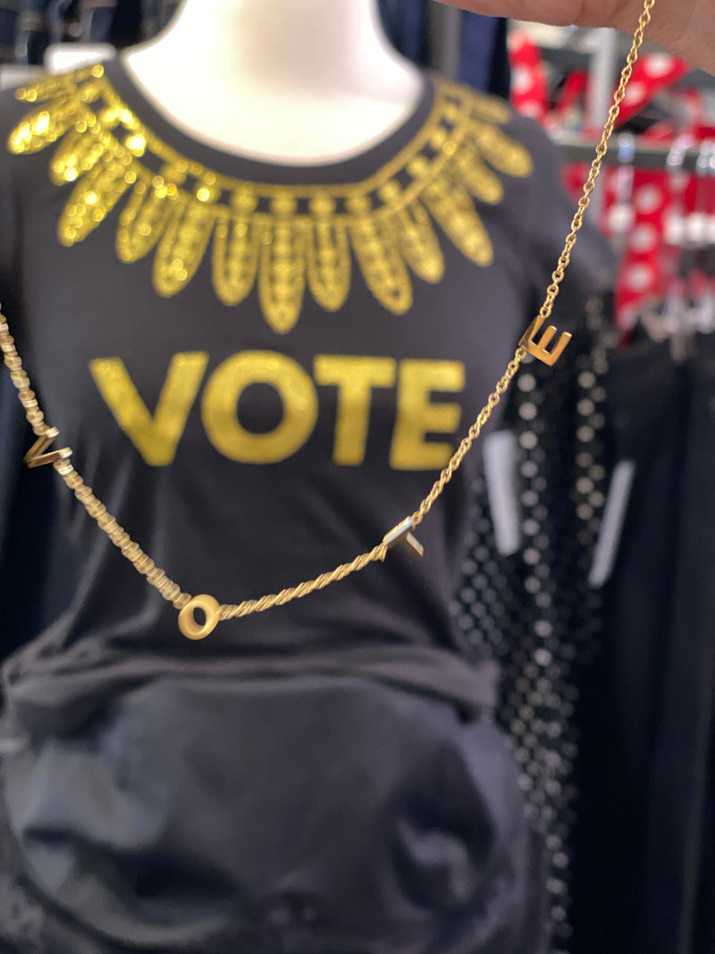 "Good Works Make A Difference - Stainless Steel ""VOTE"" Necklace - Gold"