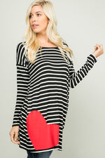 Striped tunic dress with pockets + red heart