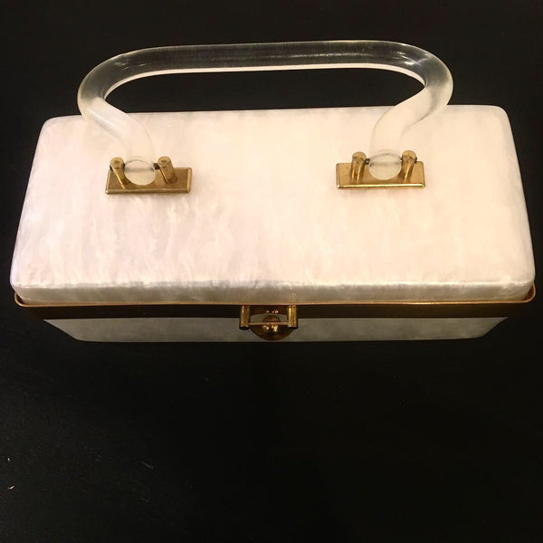 Vintage 1950's Pearlized Lucite Rectangular Bag