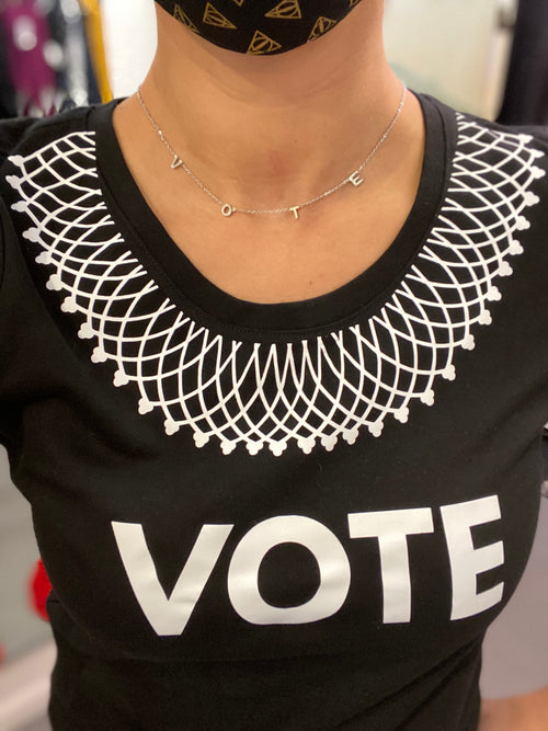 "Good Works Make A Difference - Stainless Steel ""VOTE"" Necklace - SIlver"
