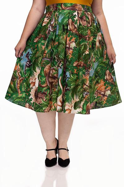 Jurassic A-line Midi length Skirt with pockets