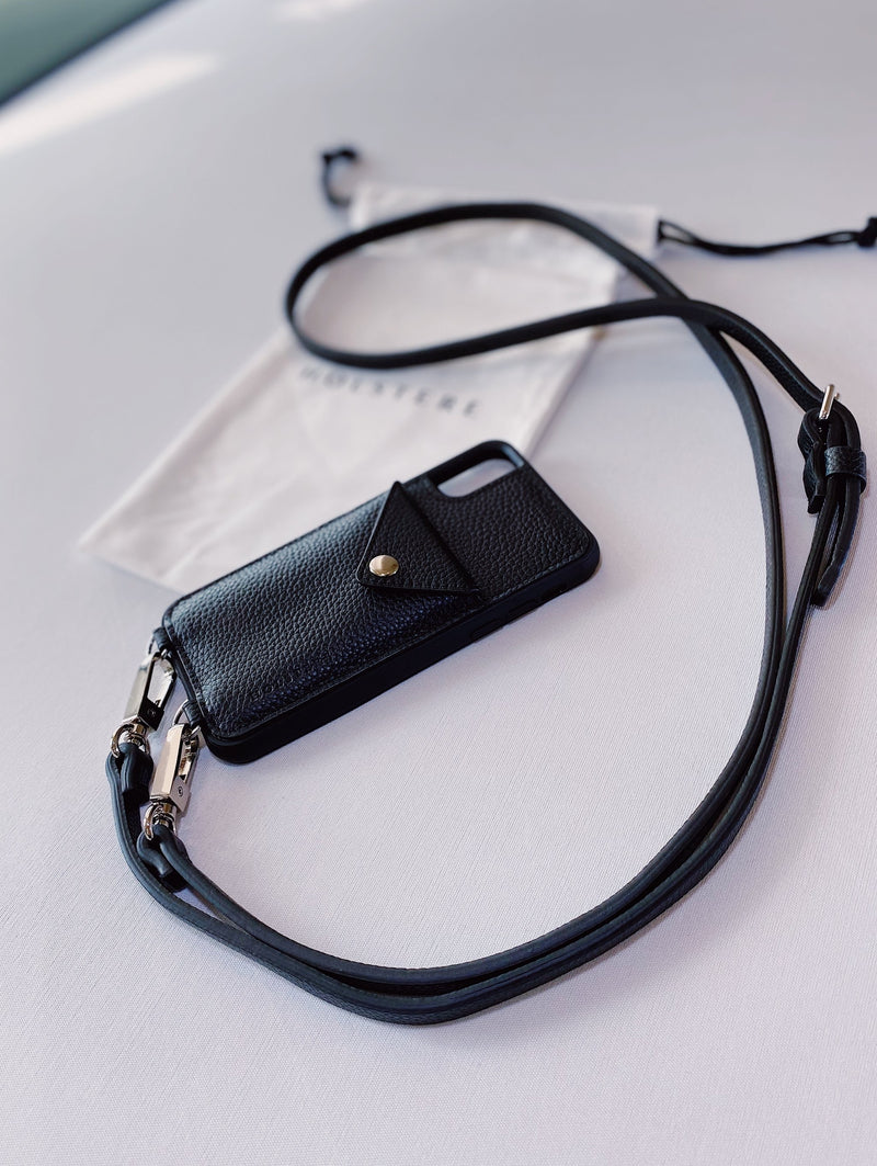 THE MANHATTAN | GENUINE PEBBLED LEATHER IPHONE CASE CROSSBODY W/ EXPANDED WALLET & ADJUSTABLE STRAP