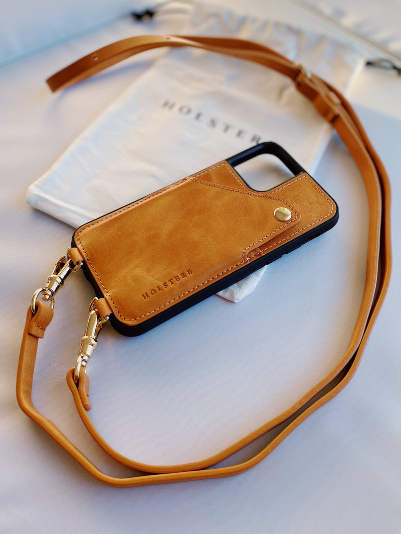 THE LONDON TAN |  LEATHER IPHONE CASE CROSSBODY W/ WALLET & ADJUSTABLE STRAP
