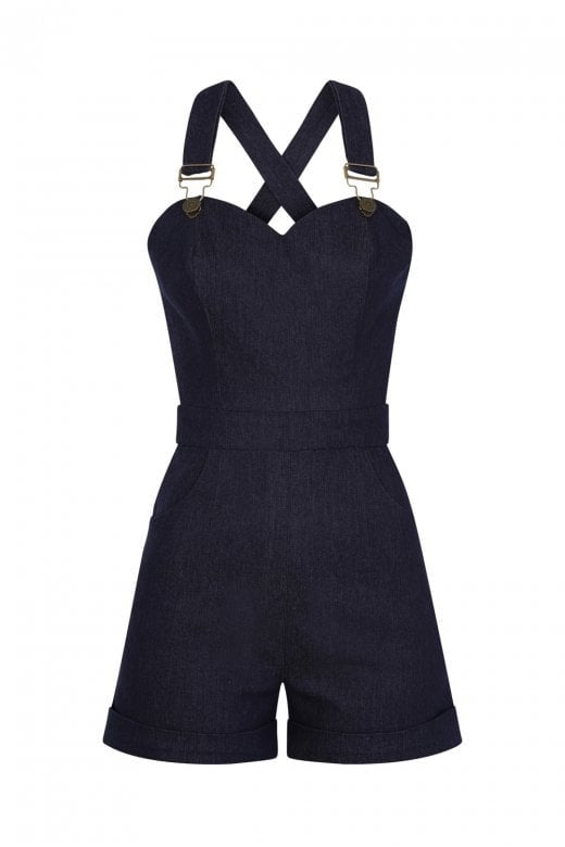 Sweetheart denim playsuit