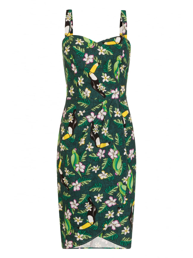 Tiki Sarong Dress in Tropical Bird Print