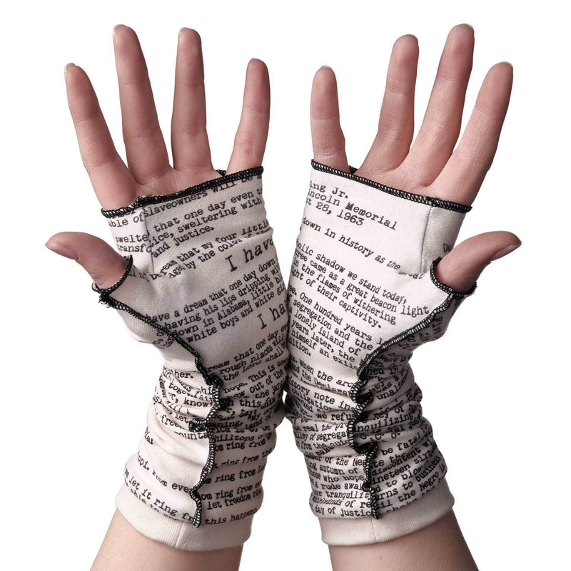Novel Book Arm Warmer Gloves- I Have a Dream-Martin Luther King Jr.