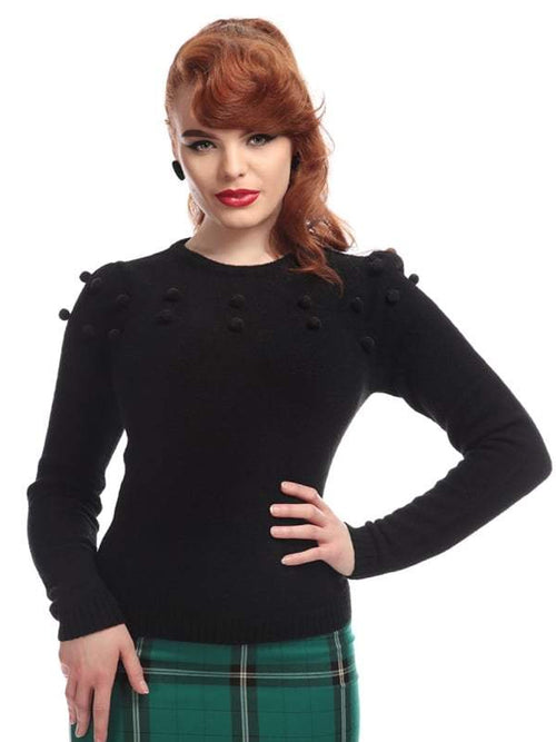 Pom Pom Sweater -Black