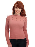 Pom Pom Sweater -Dusty Rose