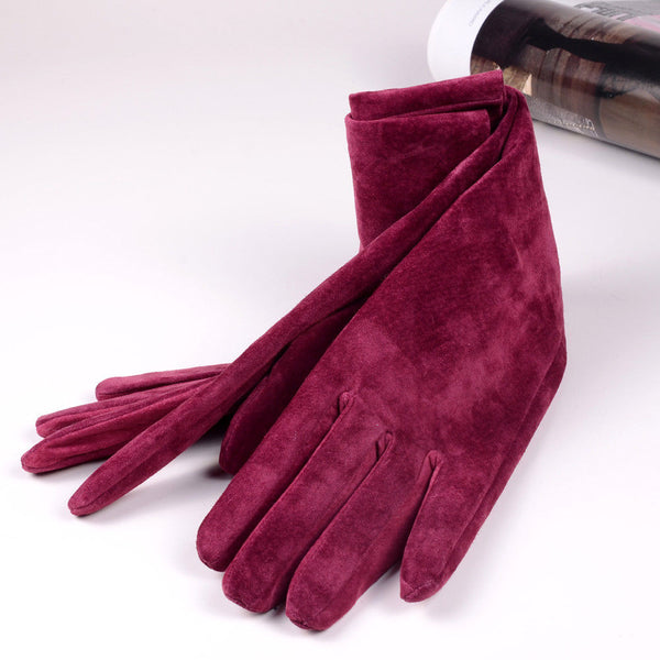Marvelous Raspberry Suede Gloves