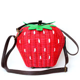 Retro Strawberry Wicker Bag