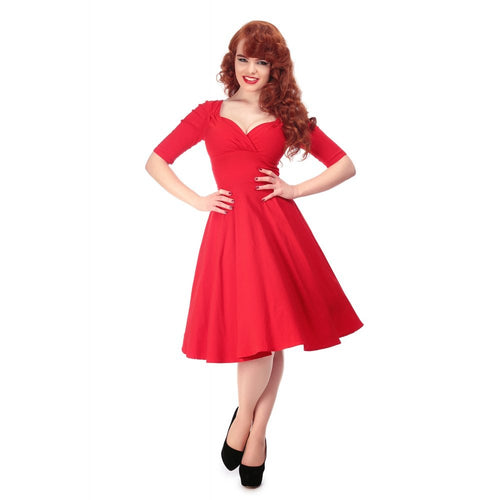Bright Red Stretch Party Swing Dress