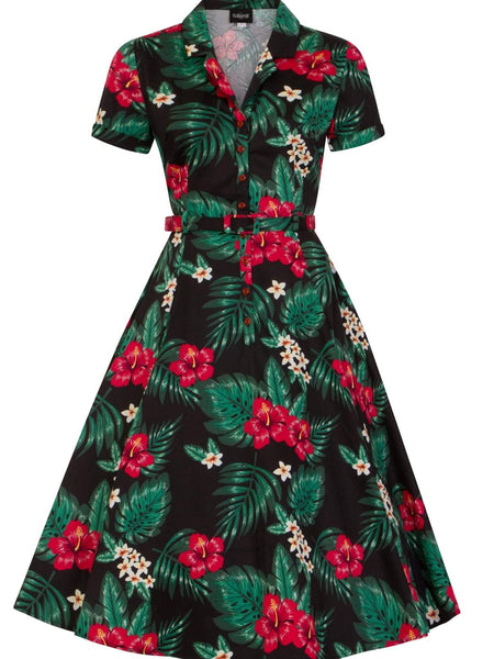 Tropical  Paradise Tiki Swing Dress with belt