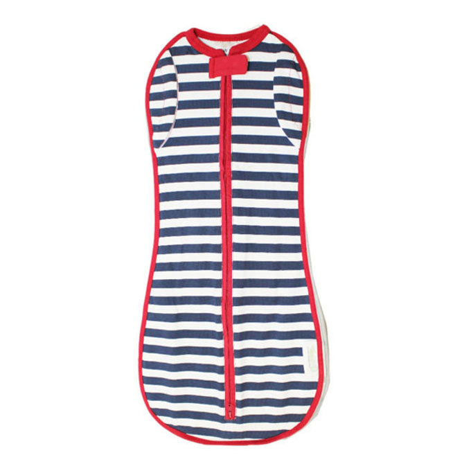 Woombie Baby Sleep Sack Canada Blue Stripe with Red.jpg