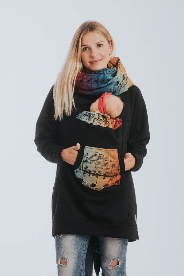 lennylamb babywearing sweatshirt black with symphony rainbow