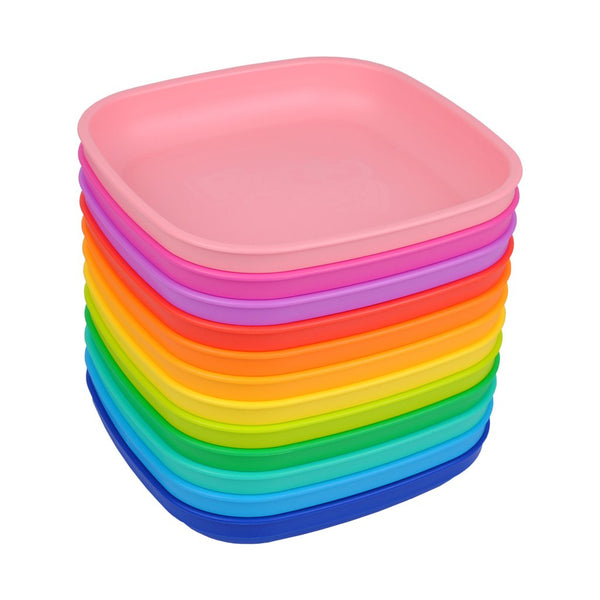 replay recycled plastic tableware canada rainbow flat plates