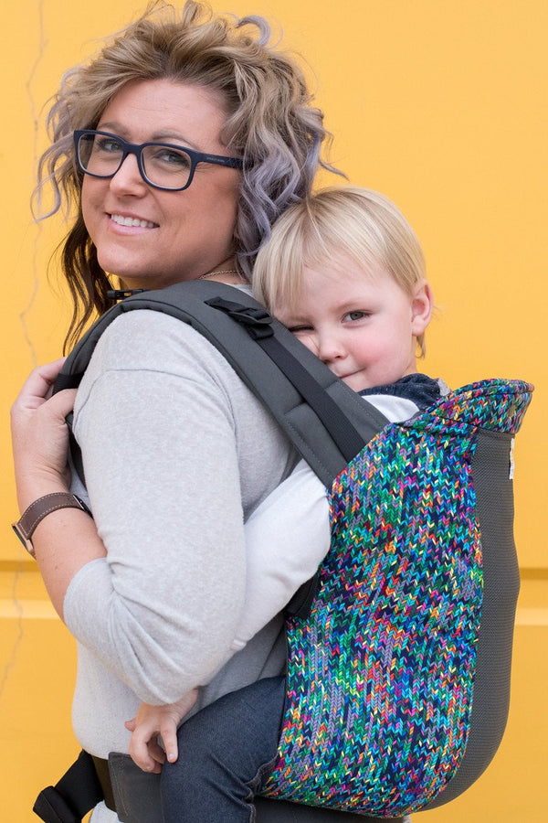 kinderpack knit stitch baby carrier