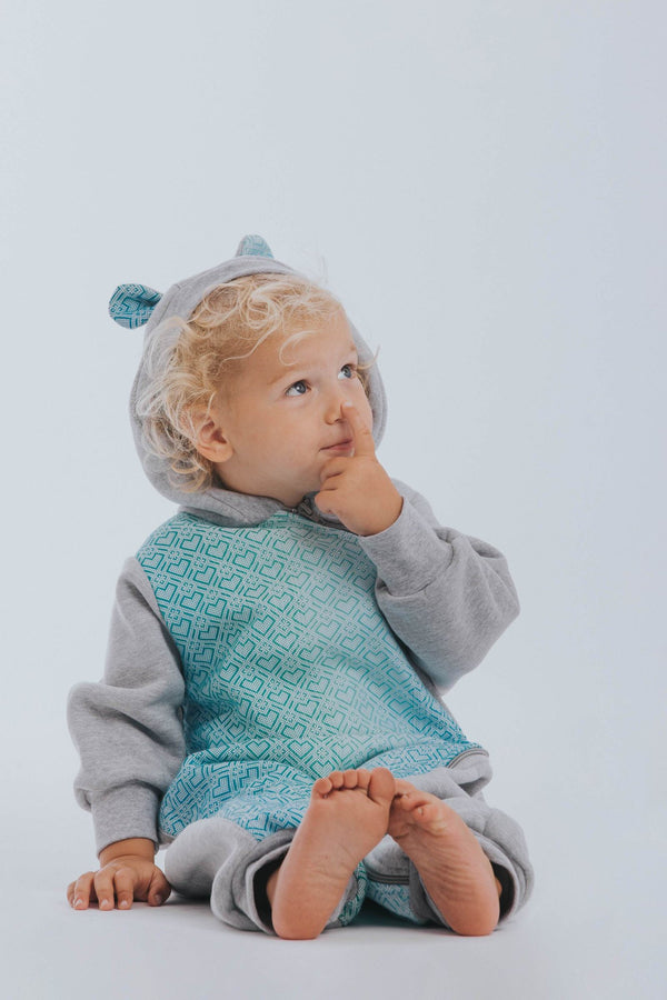 lennylamb bear romper grey big love ice mint