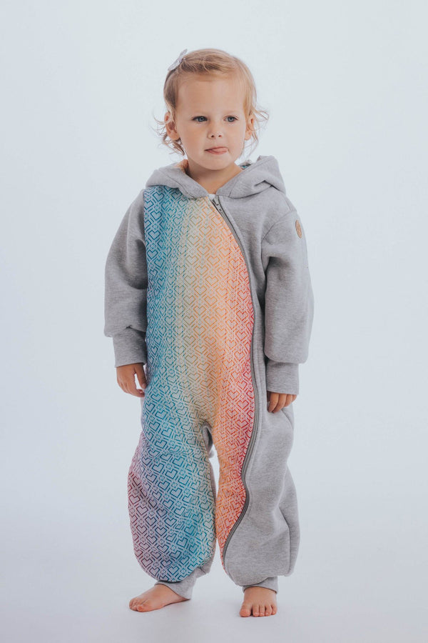 lennylamb bear romper grey big love rainbow