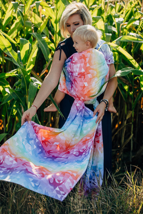 lennylamb swallows rainbow light woven wrap