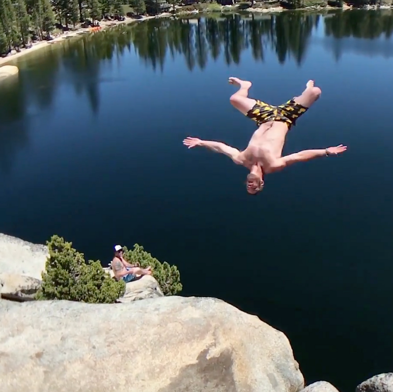 100 foot rock jumping in our Summer 2018 Collection