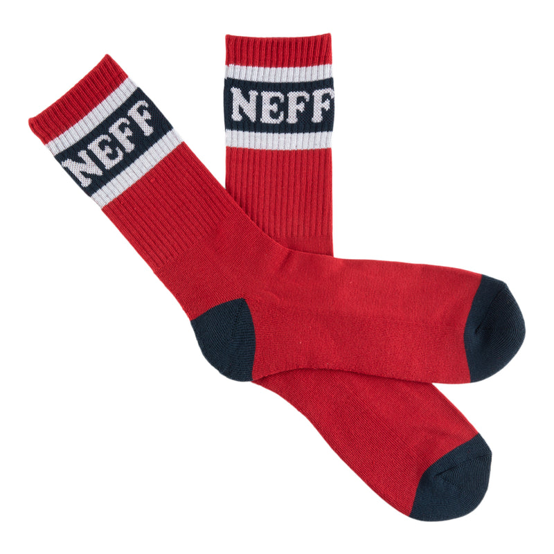 NEFF BLOCK CREW SOCK - RED/NAVY
