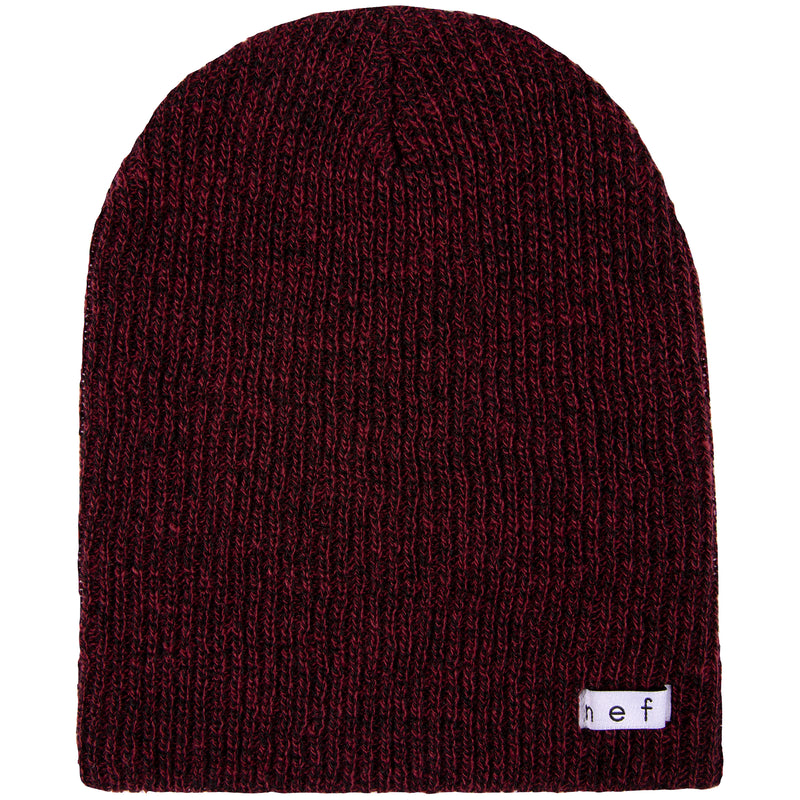 DAILY HEATHER BEANIE MAROON BLACK