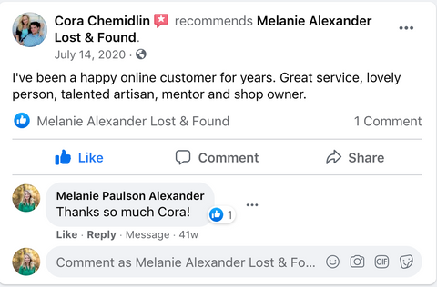 Customer review for online store