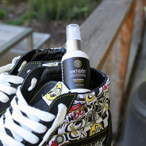 Sneakerhead spraying shoe deodorizer ANTIDŌT by sōlscience Sneaker Freshener Vans Moon Eyes Sk8-Hi Vault by Vans Sneaker Spray