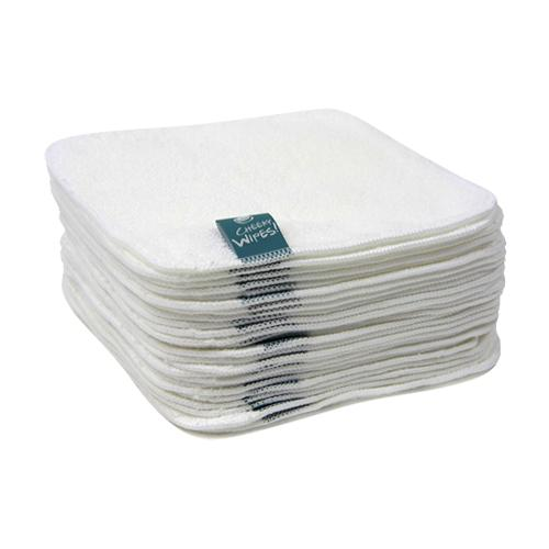 Real Nappies reusable cloth nappies-Cheeky Wipes Accessories-White Premium Cotton Wipes (25)