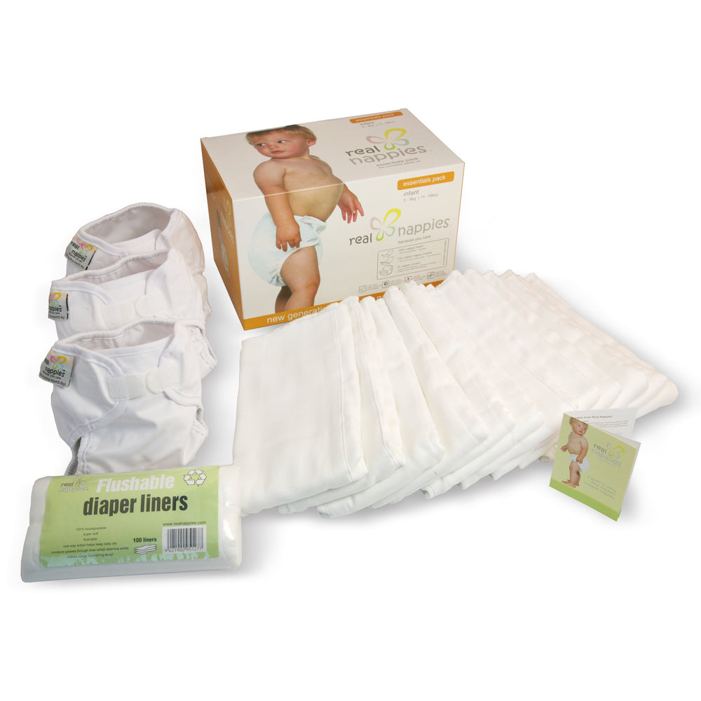 Real Nappies reusable cloth nappies-Organic Essentials Pack-Infant