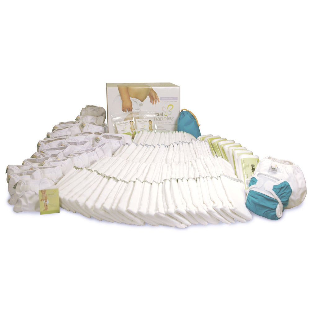 Real Nappies reusable cloth nappies-Organic Infant to Potty Pack-