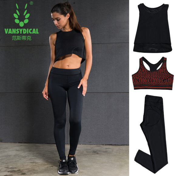 Fitness compression shirt+sport bra+ tights running set. 3pcs clothes.