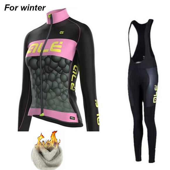 ALE Women Pro Team cycling set. Thermal winter.