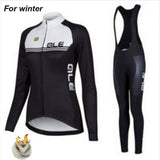 Team Women Thermal Fleece Racing Bicycle Ale Pro Clothing Suit Warm Cycling