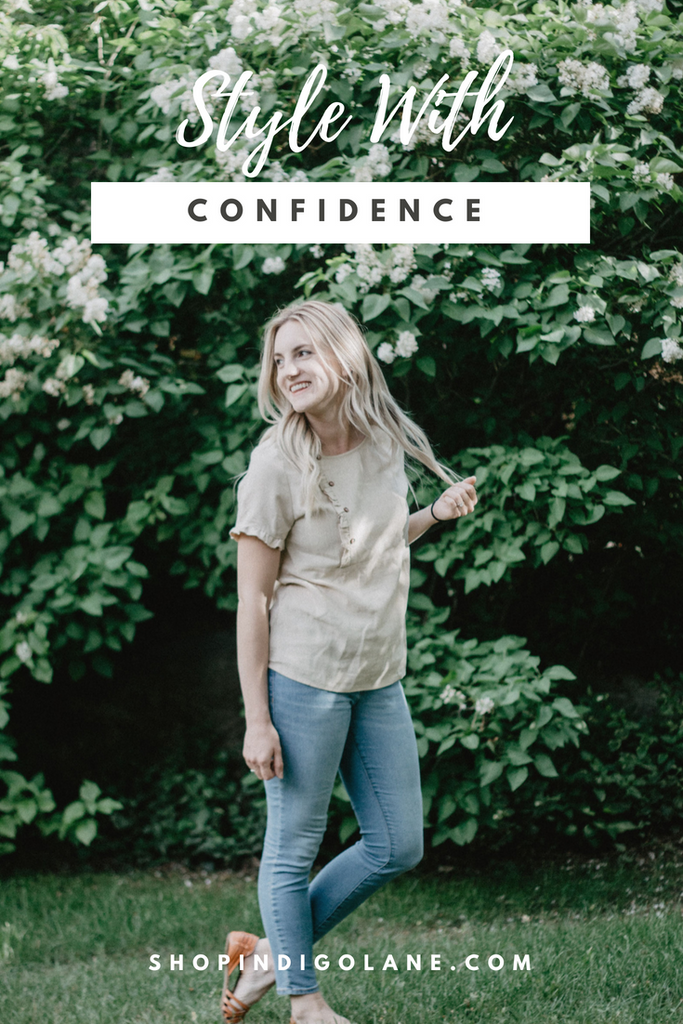 Image of Catherine with text over lay saying style with confidence