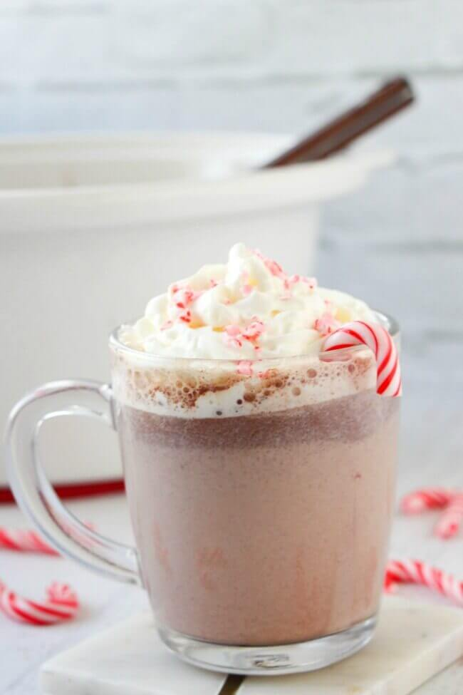 Crockpot Peppermint Hot Chocolate for Holiday Season