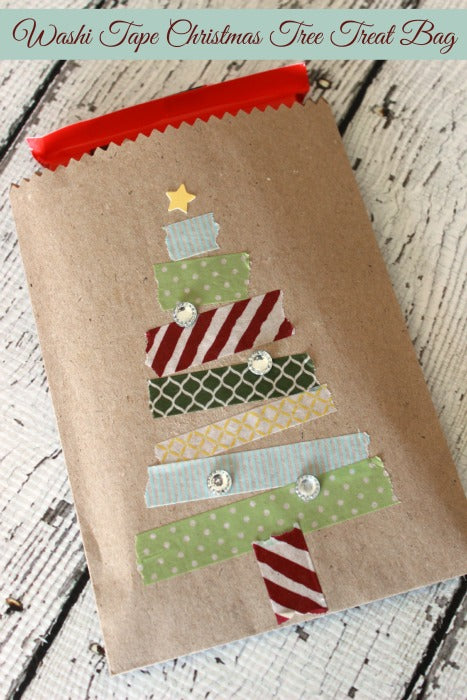 christmas gift decorated with washi tape