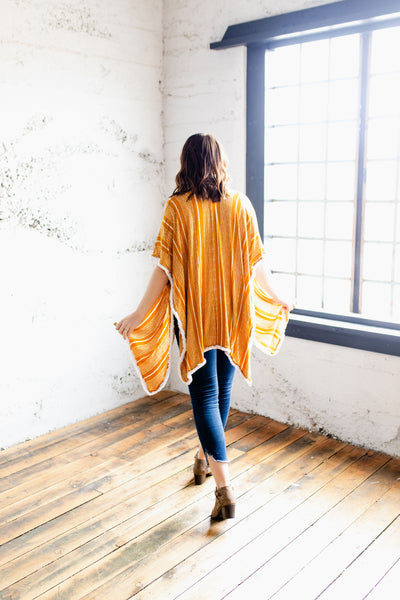 Amber - Beautifully Patterned Kimono in the Color Mustard