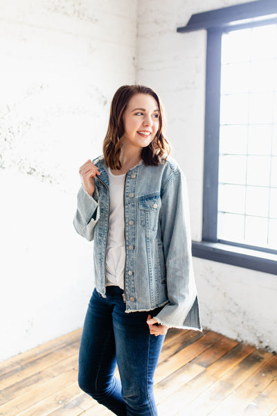 The Barbara - Medium Wash Denim Jacket with Fringe Details and Bell Sleeves