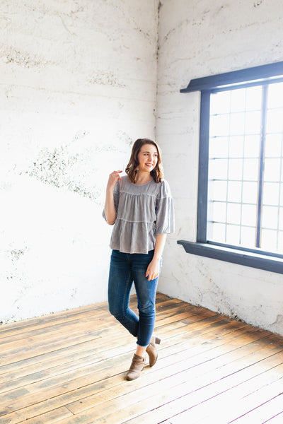The Tracy - Soft Lightweight Flutter Blouse in Purple/Gray