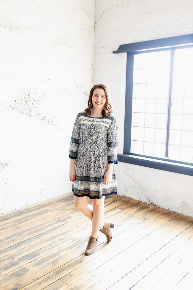 The Delilah - Navy Boho Patterned Dress