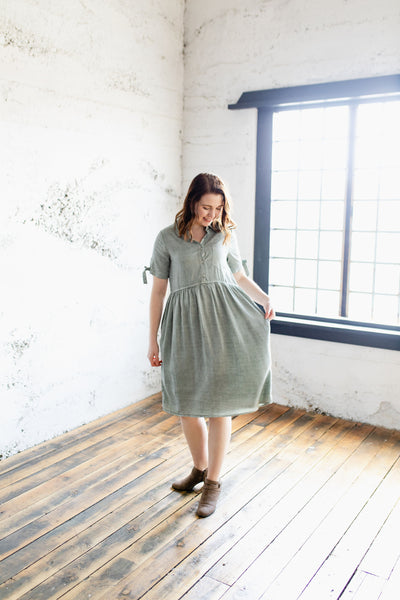 Becca Dress - Nursing Friendly with Pockets in the Color Sage