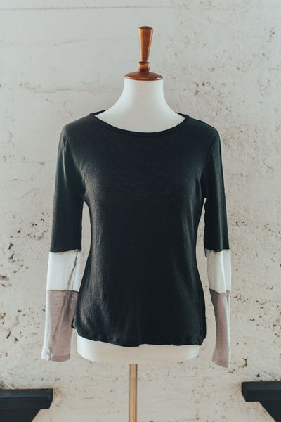 Kayla Color Block Long Sleeve Tee in Dark Neutrals
