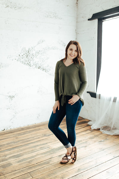 Olivia Waffle Knit Knotted Tee in Olive